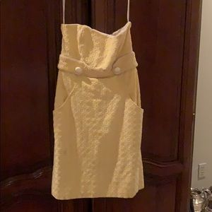 Super cute yellow and white strapless dress 6